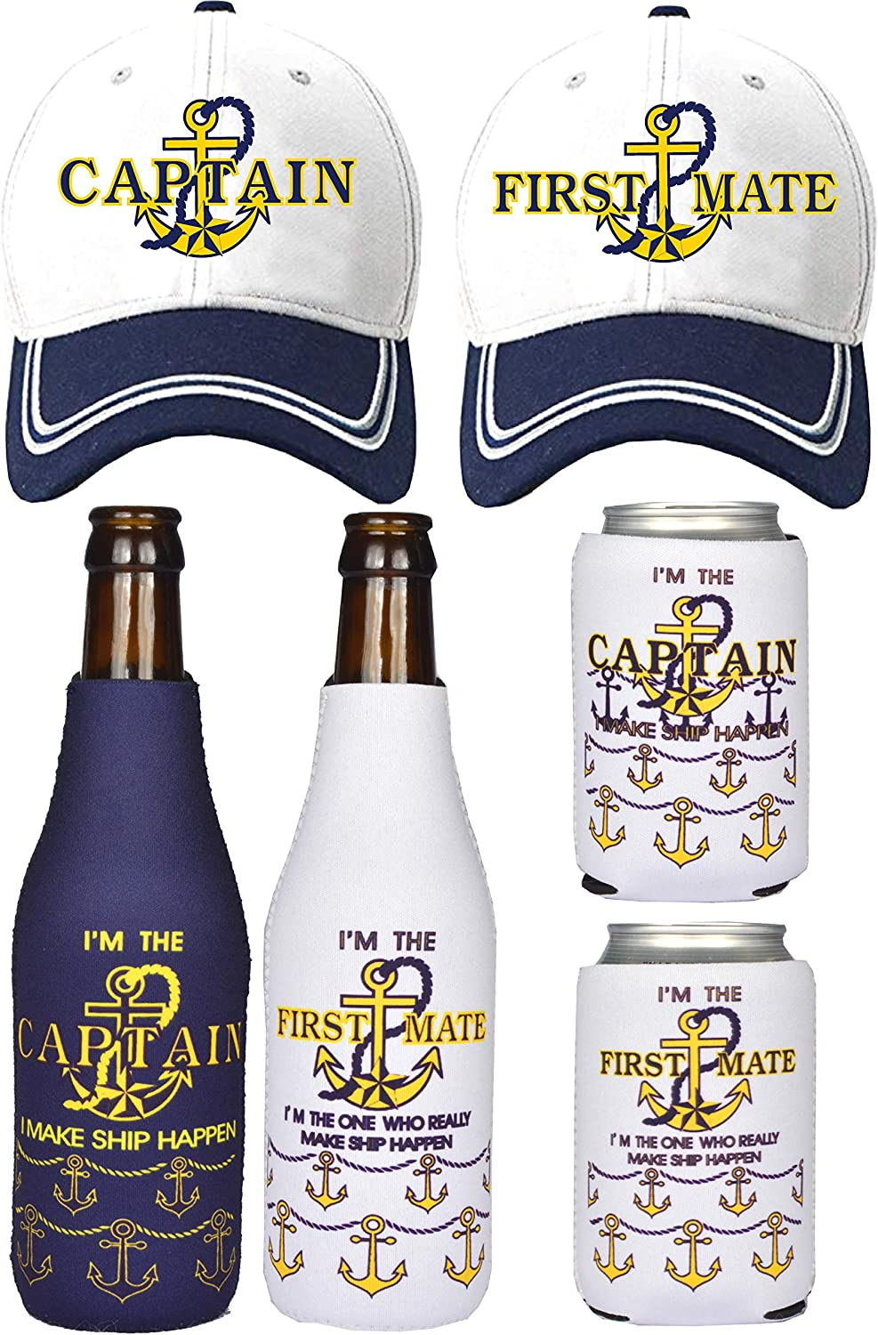 Captain Hats, First Mate Hats, Captain Gifts, First Mate Gifts for Women, Boat Captain Gifts, Gifts for Boaters, Boating Gifts, Boat Captain Gifts, Boating Gifts for Couple, Nautical Sailing Match