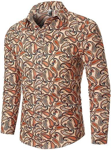 Moda! Camisas de impresión étnica para Hombre, Estilo otoñal, Blusa de Negocios, Ocio, Camisetas de Manga Larga, M ~ 3XL Verde Caqui XL: Amazon.es: Ropa y accesorios