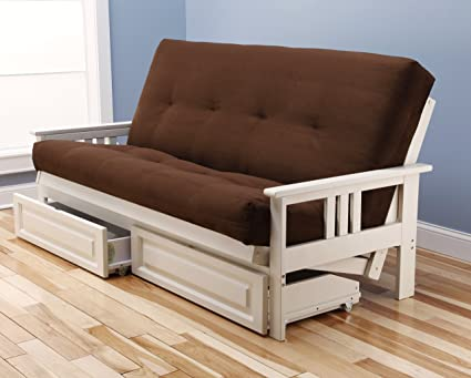 Genial Mission Style Wood Frame Antique White Futon With Storage Drawers  Convertible Full Size Innerspring Mattress Cover