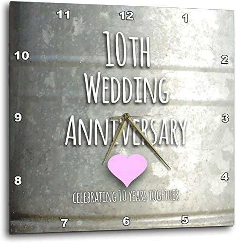3dRose DPP_154441_3 10Th Wedding Tin Celebrating 10 Years Together Tenth Anniversaries Ten Yrs Wall Clock, 15 by 15-Inch