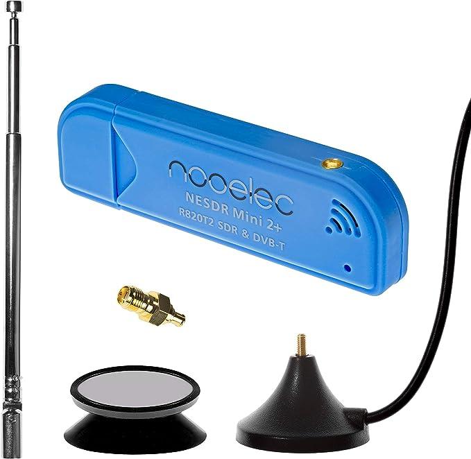 NESDR Mini 2+ 0.5PPM TCXO RTL-SDR y ADS-B Juego de receptores USB con antena, montaje de succión y adaptador hembra SMA. Sintonizador RTL2832U y ...