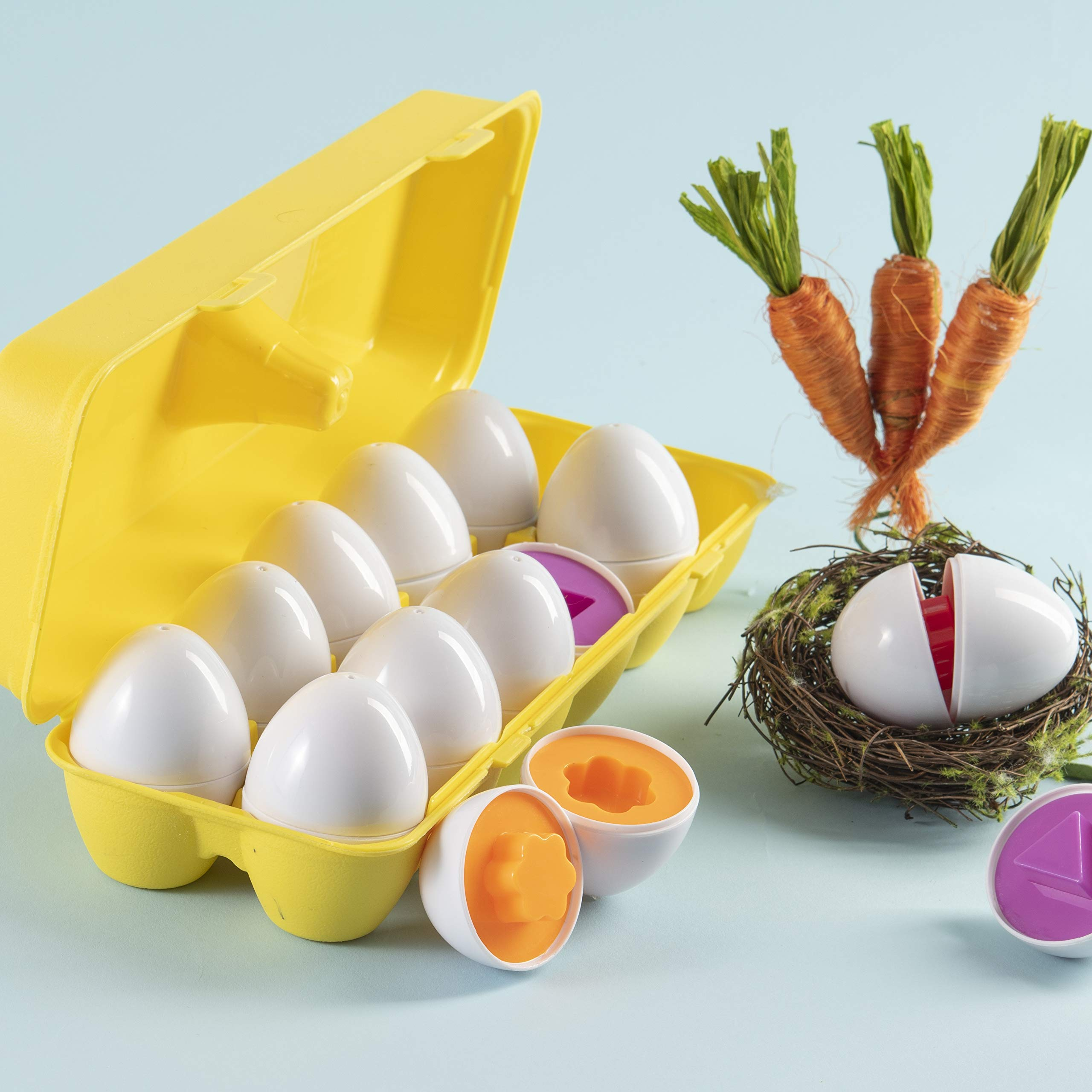 Prextex My First Find and Match Easter Matching Eggs with Yellow Eggs Holder - STEM Toys Educational Toy for Kids and Toddlers to Learn About Shapes and Colors Easter Gift by Prextex (Image #3)