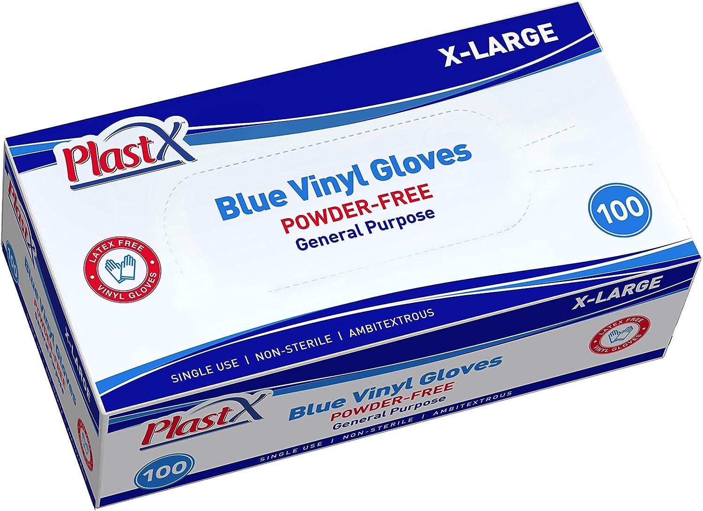 PlastX Blue Vinyl Gloves 100 Count Blue Cleaning Plastic Gloves