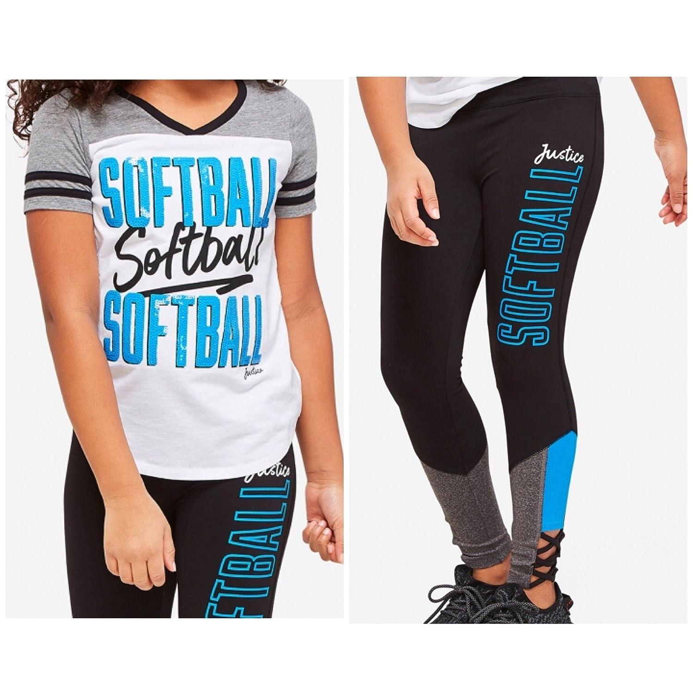 Justice Girls Softball Shirt Leggings Pants Size 10