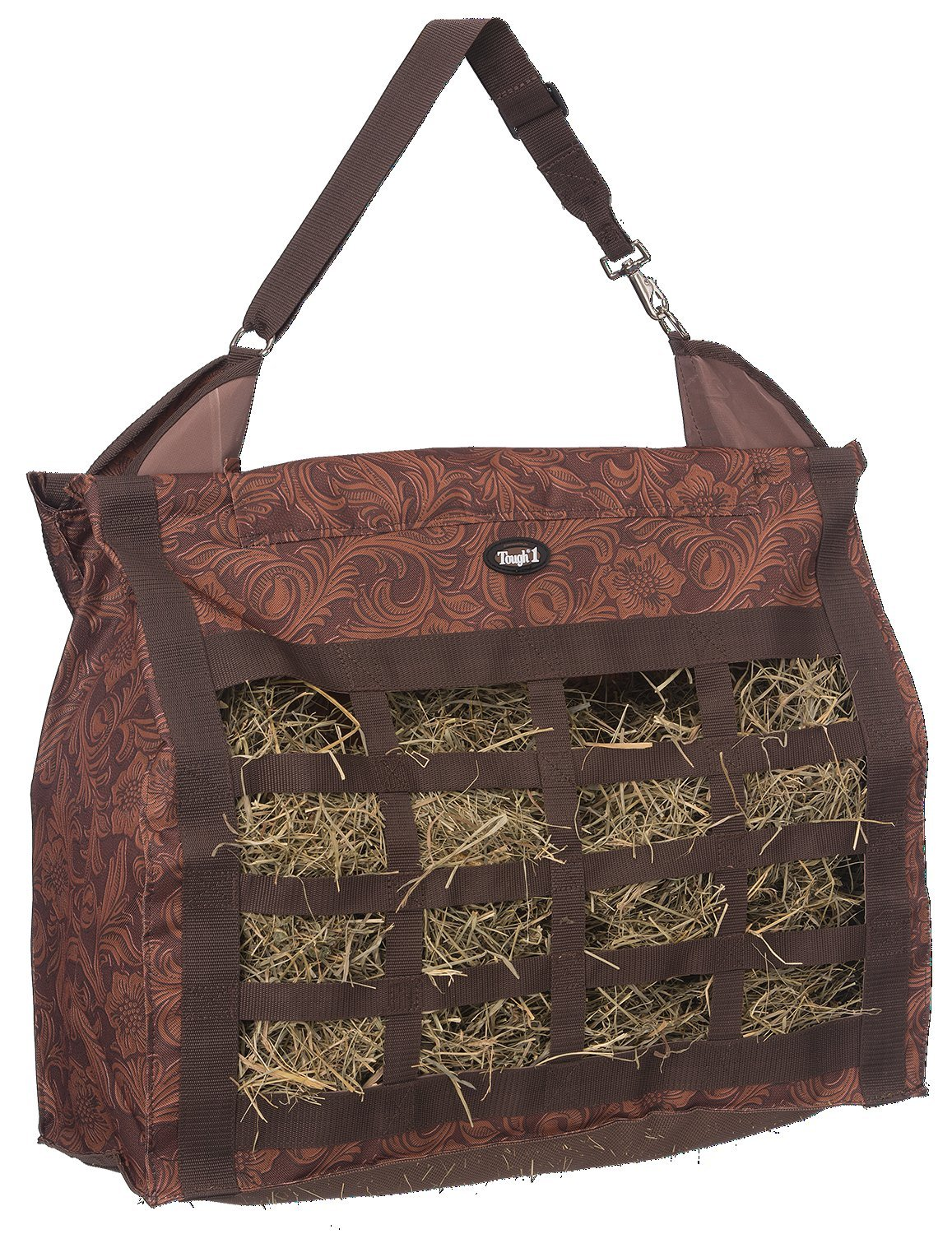 Tough 1 Heavy Denier Nylon Hay Tote Bag in Prints, Tooled Leather Brown by Tough 1