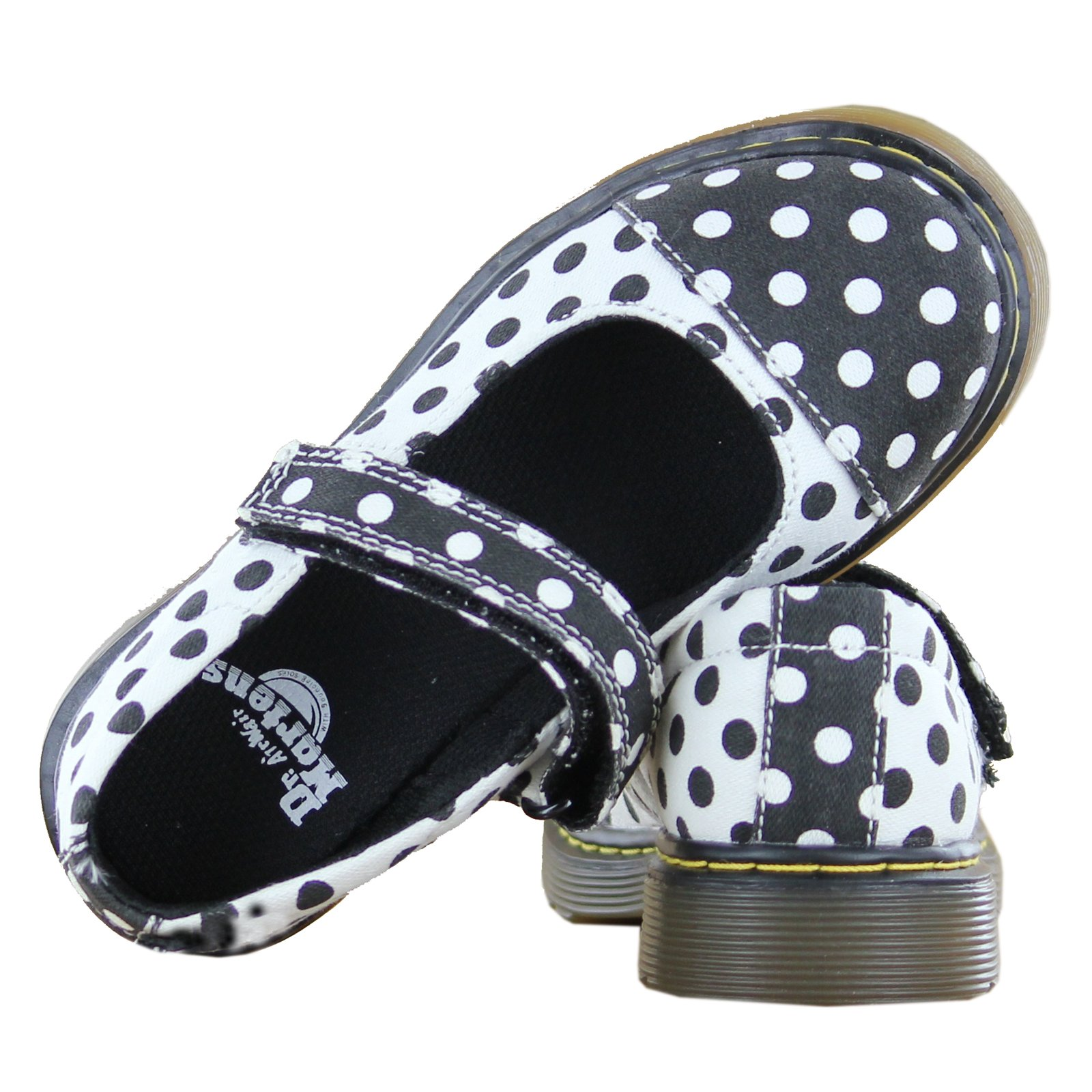 Dr. Martens Kid's Collection Girl's Bijou Toe Cap Mary Jane (Little Kid) Black+White/White+Black Dots Fine Canvas Flat 13 UK (1 US Little Kid) M by Dr. Martens (Image #4)