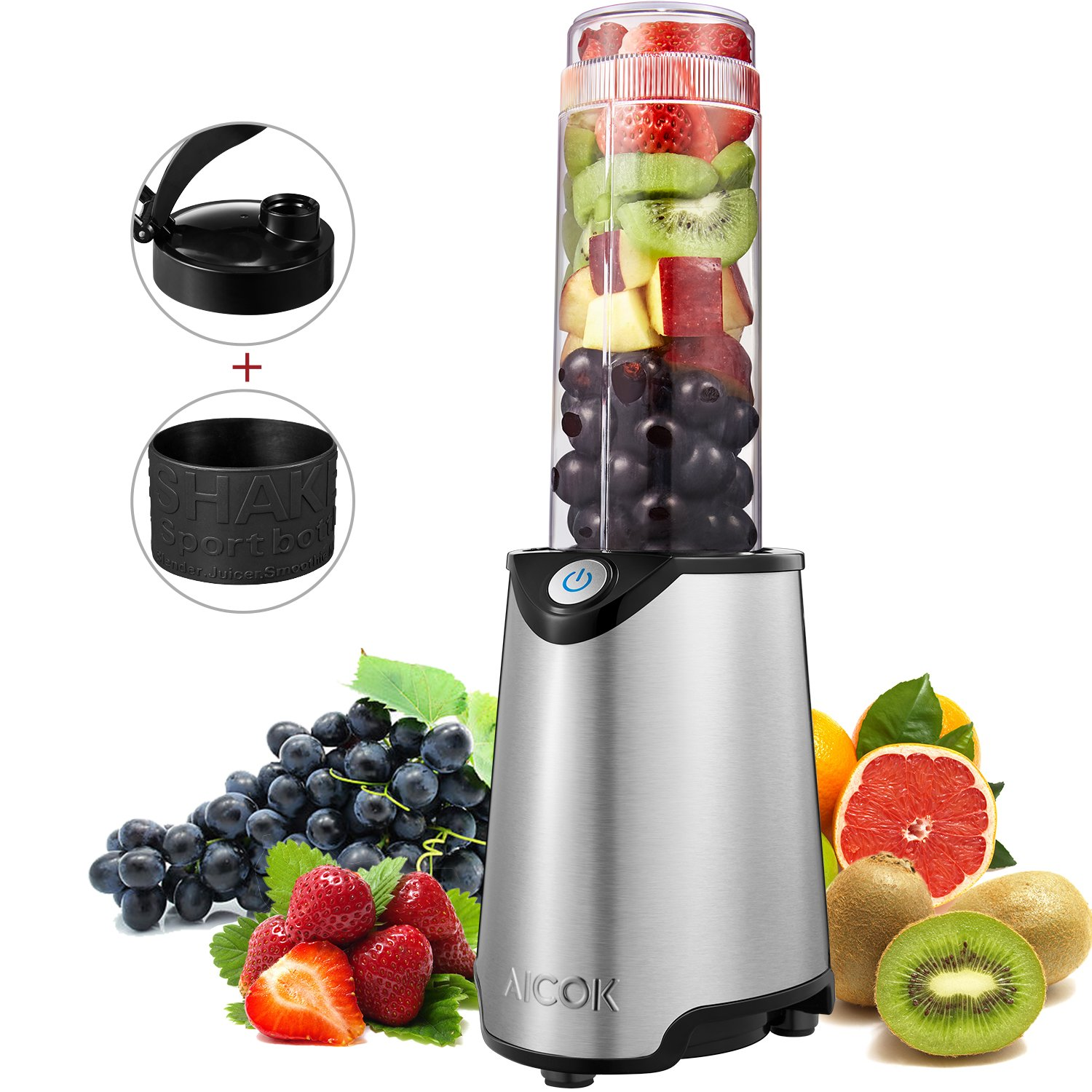 Aicok Personal Blender, Mini Smoothie Blender, Stainless Steel Single Serve Blender, Smoothie Maker with Travel Sport Bottle Lid and Tritan BPA-Free Cup, 300W, Silver
