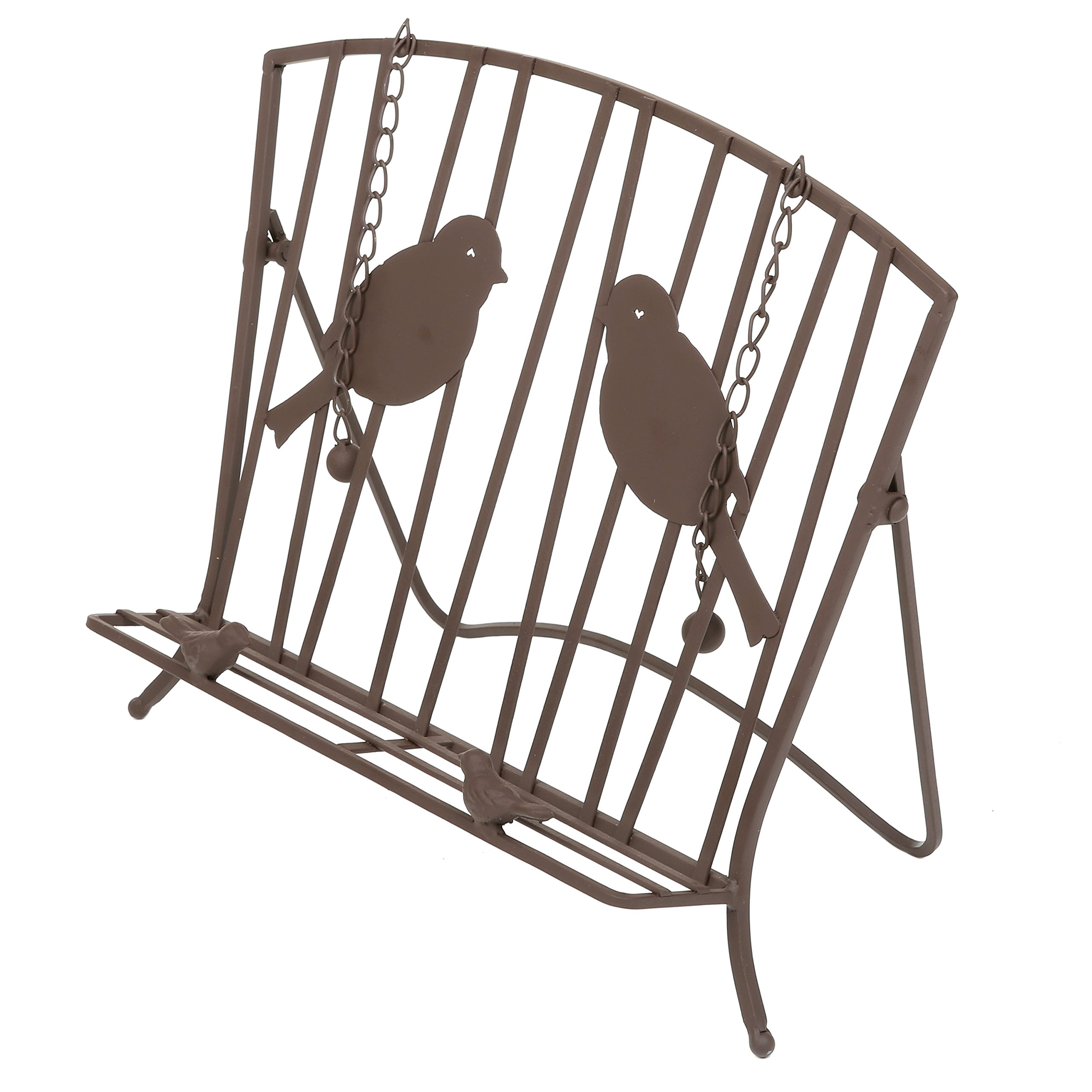 Countertop Metal Bird Design Cookbook Holder, Support Stand for Books and Tablets, Brown by MyGift