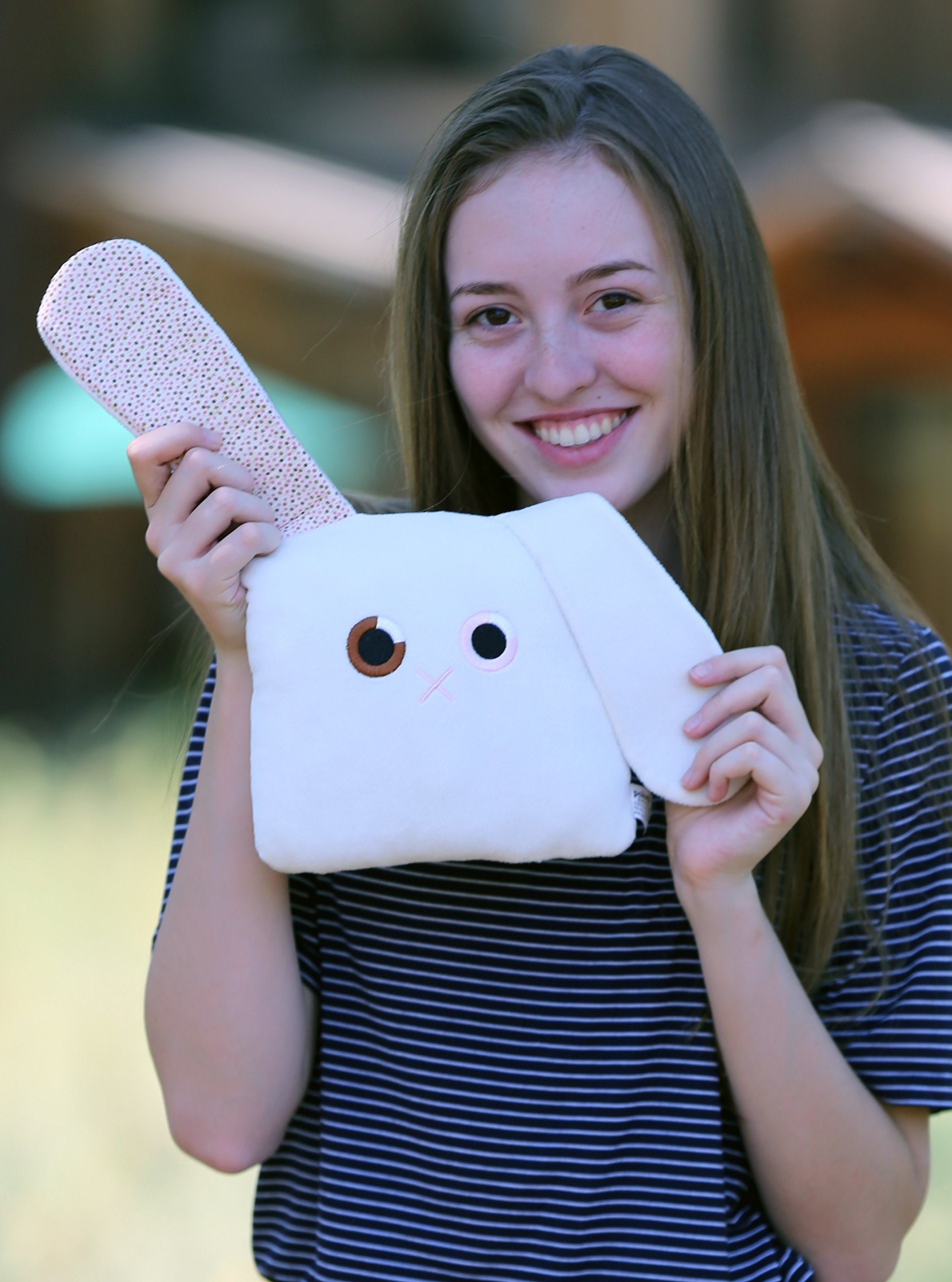 Poketti Plushies with a Pocket Plush Toy Rabbit Pillow Toni the Bunny
