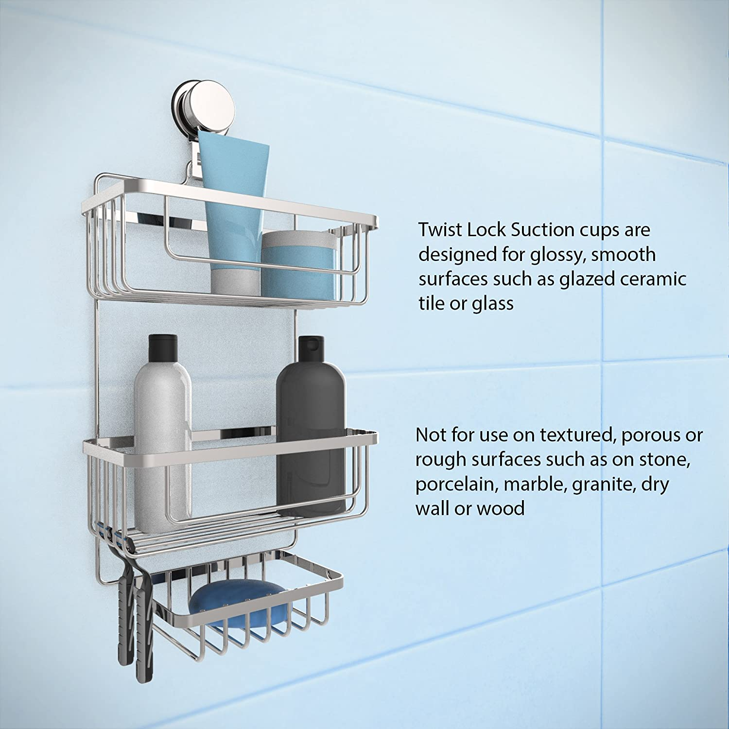 Amazon.com: Lavish Home Wall Mounted 3 Tier Caddy-Hanging Shower ...