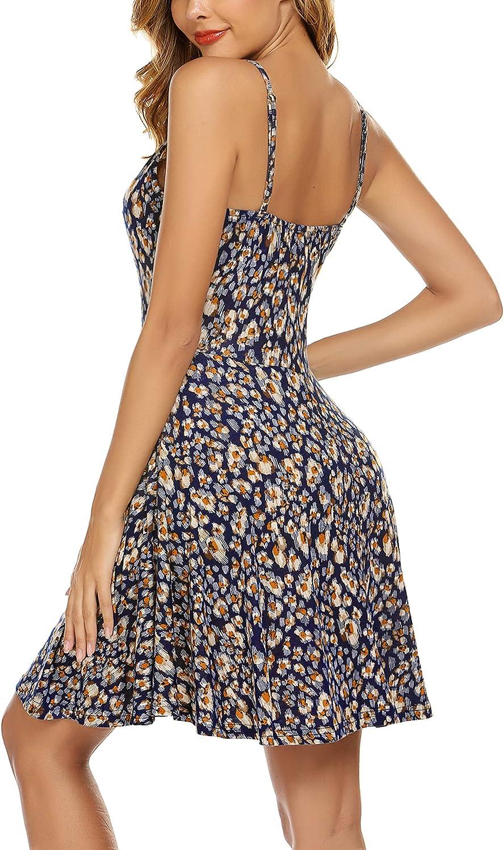 Sommerkleid Negligees Minikleid Verstellbares Riemchen Midi Kleid Blumen Buntfarben Unifarben S-XXL Unibelle Sommer Stand Swing /Ärmelloses