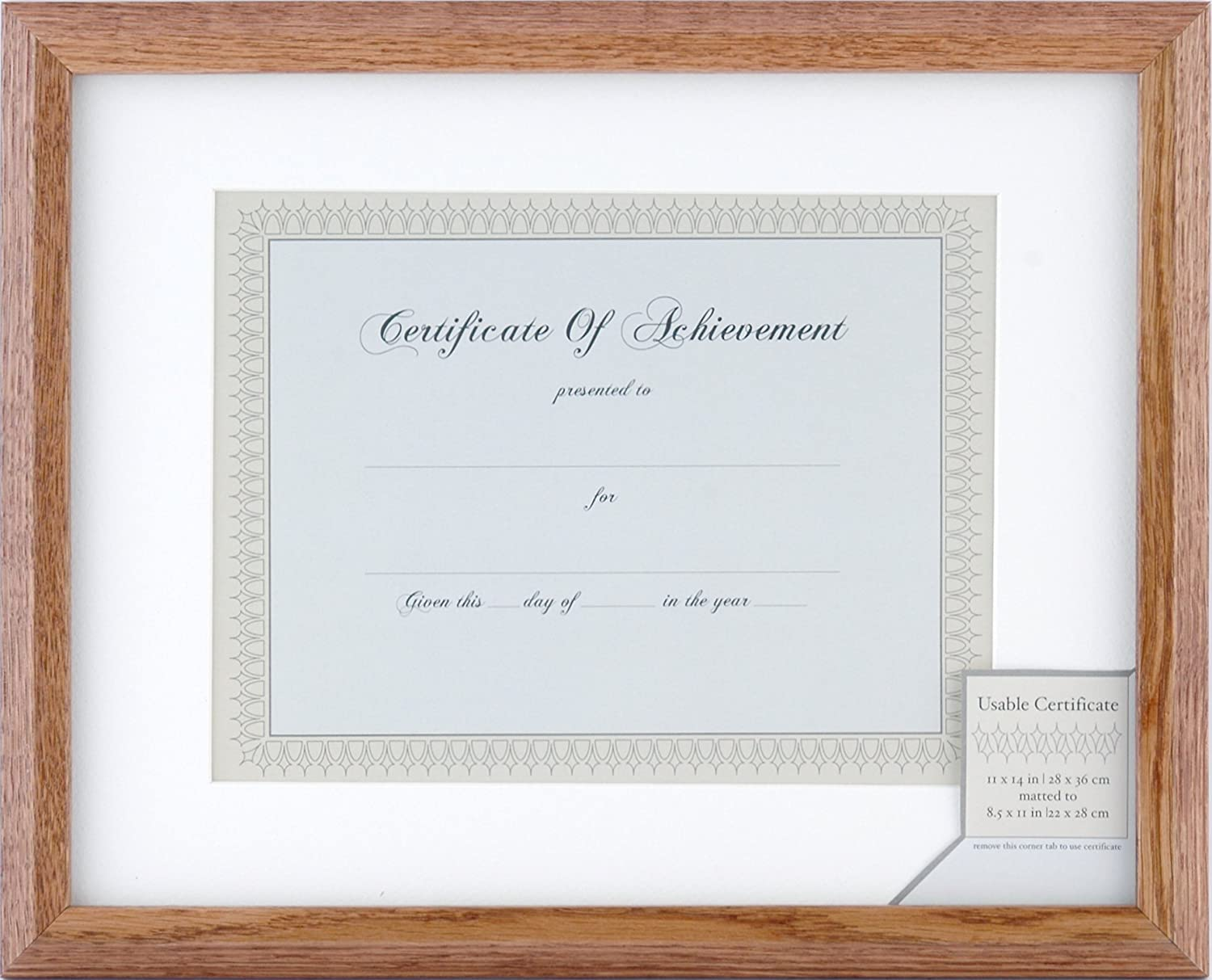 Gallery Solutions 25DG22 Natural Wide Stepped Wood Document Frame with Usable Certificate, 8-1/2 by 11-Inch NBG Home
