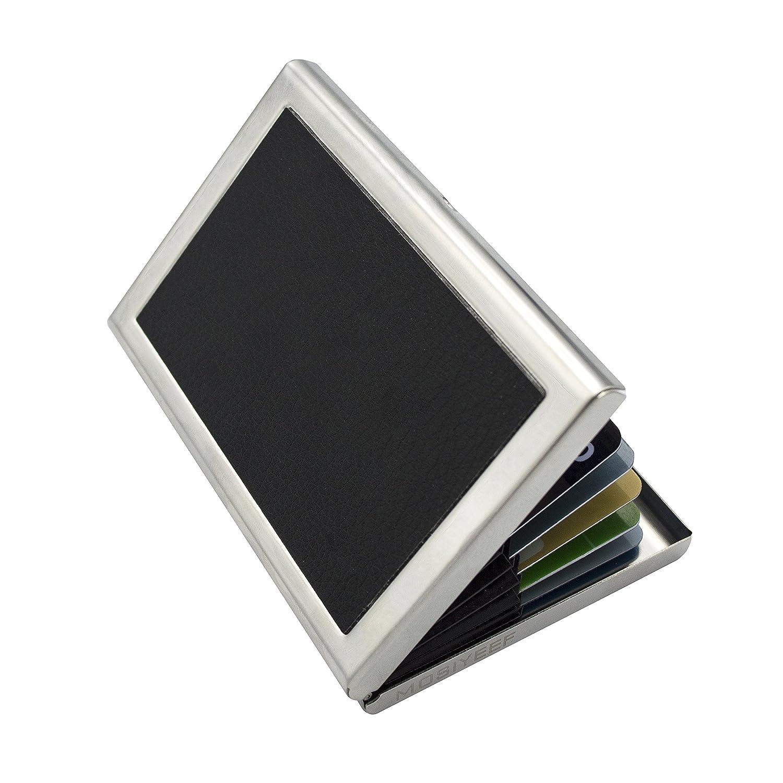 Mosiyeef Aluminum RFID Blocking Credit Card Holder Fold Metal Wallet Front Pocket Id Card Business Card Case Keeper black