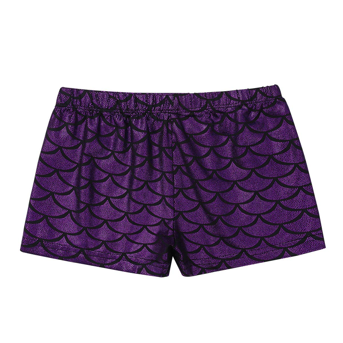dPois Kids Girls Shiny Mermaid Scales Sports Workout Gym Dance Shorts Gymnastic Hot Pants