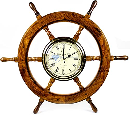 Nagina International Premium Nautical Hand Crafted Brass Time's Clock Wooden Ship Wheel