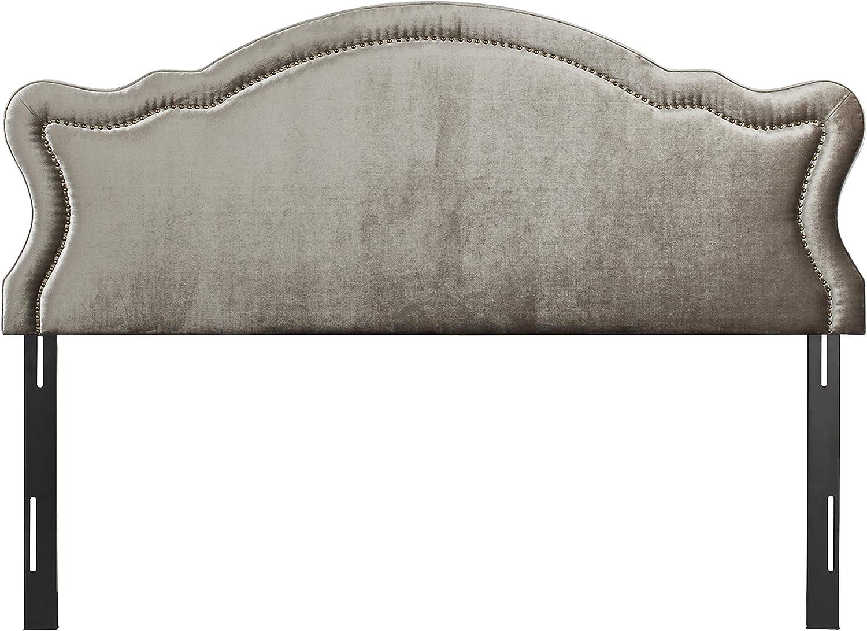 Jennifer Taylor Home Legacy Collection King Size Adjustable Velvet Upholstered Camel Back Headboard with Hand-Applied Nail Head Trim, King, Grey
