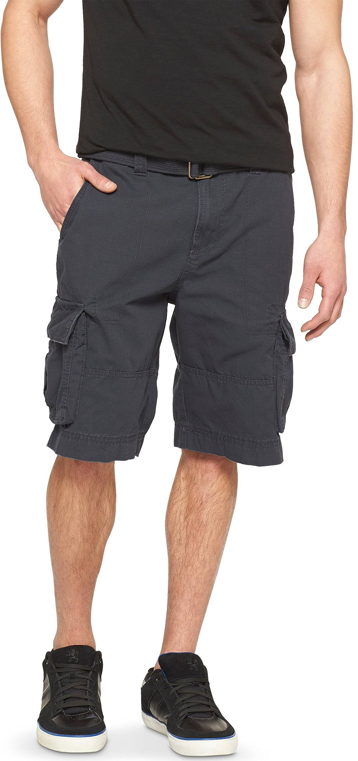 Mossimo Men's Belted Cargo Shorts (Black, 28)