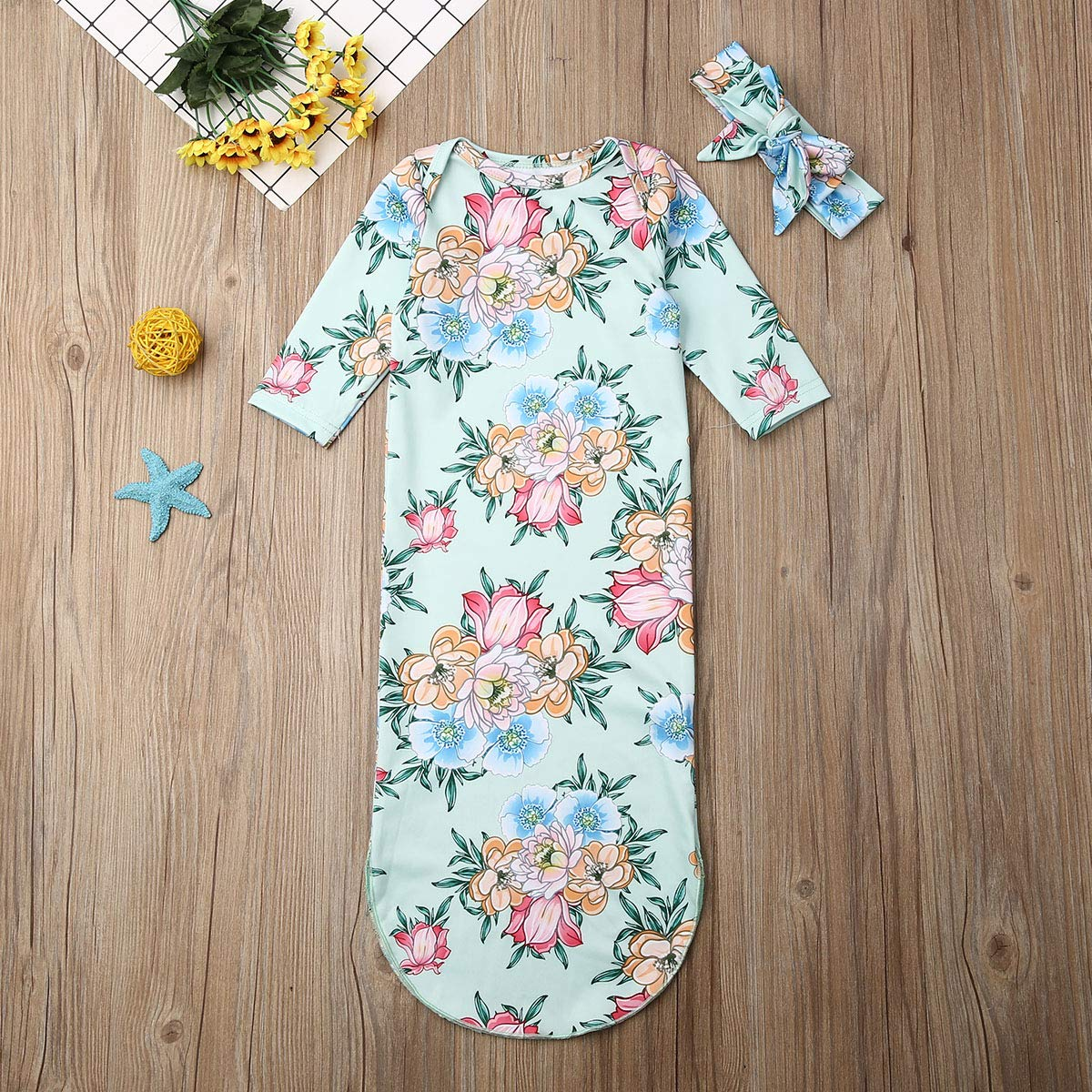 de algod/ón GWJGOGO Saco de dormir con nudos para beb/é reci/én nacido con vestido de noche y diadema de flores dise/ño floral unisex