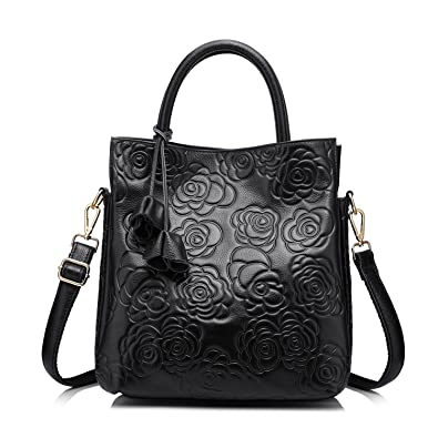 aee9cf0731a2 Amazon.com  Designer Genuine Leather Handbag Women Tote Bag Floral Embossed  Shoulder Bag by Realer(Black)  Shoes