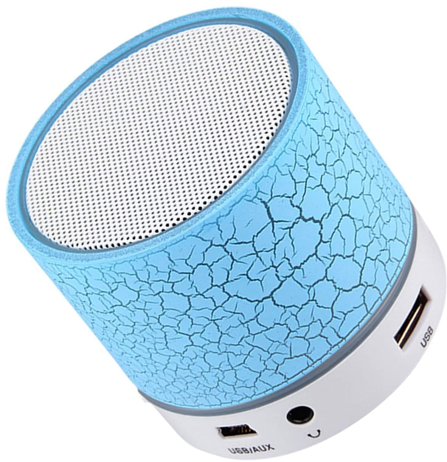WAYFIC Mini Portable Wireless S10 Bluetooth Speakers LED Light Handfree with Calling Functions & FM Radio for All Android & iPhone Smartphones(Blue)