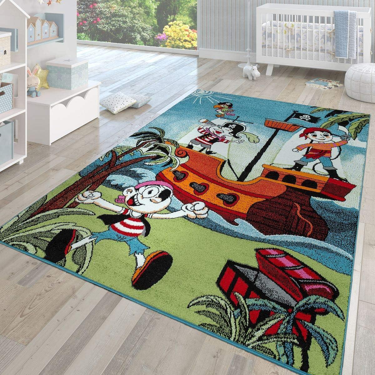 Tapis de Jeu pour Chambres denfants L/île au tr/ésor et Le Pirate Paco Home Tapis pour Enfants en Couleur Dimension:80x150 cm