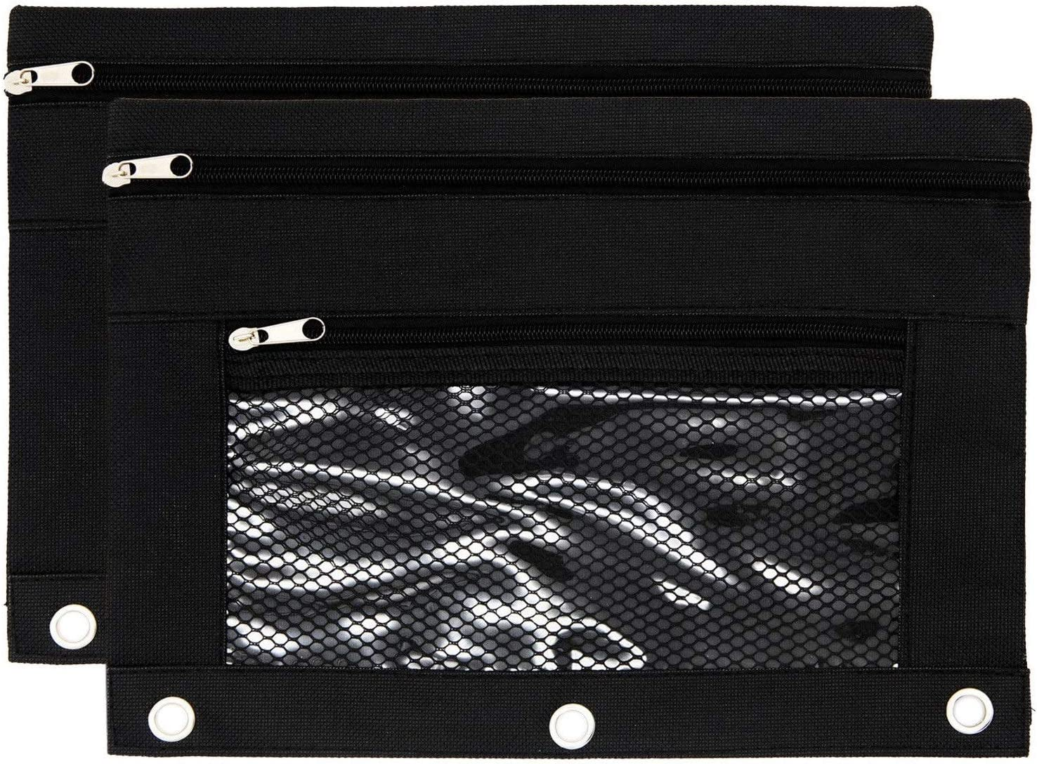 Binder Pencil Pouch with Dual Zipper Pulls Double Pockets Pencil Case with Rivet Enforced 3 Ring and Waterproof Mesh Window for Stationery Organizer/Office Supplies (2PCS - Black)
