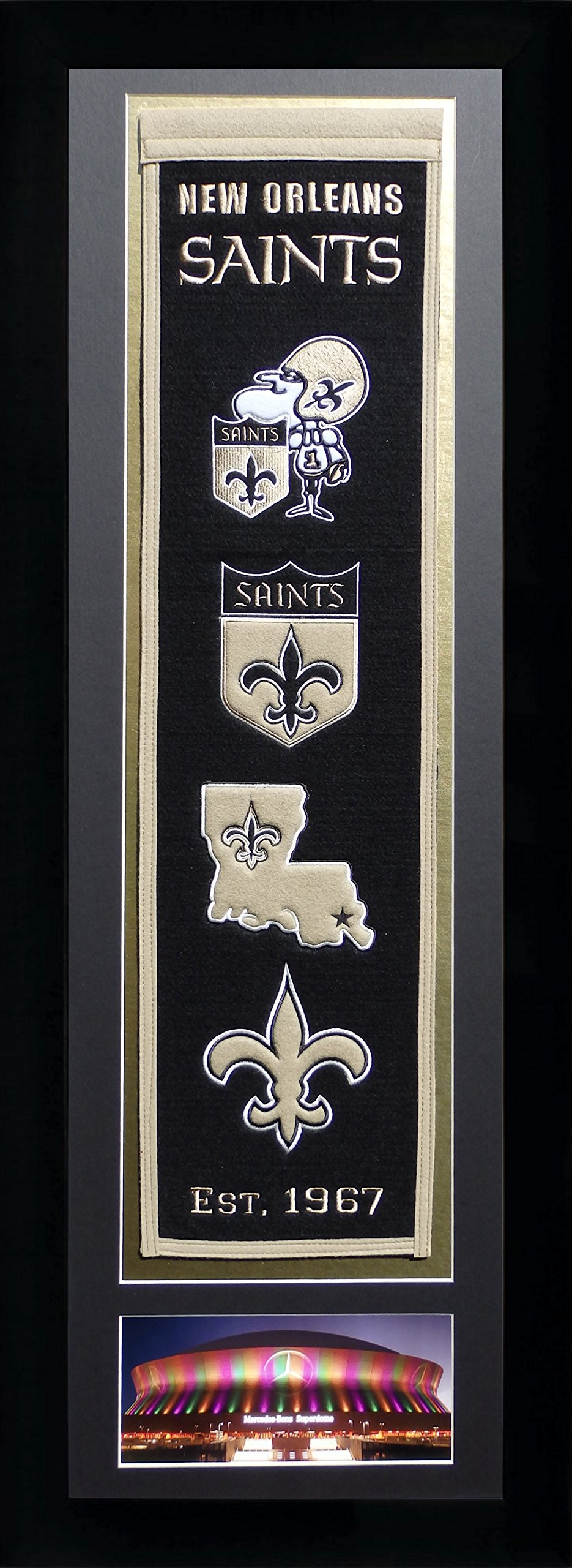 Legends Never Die NFL New Orleans Saints Team Heritage Banner with Photo, Team Colors, 15'' x 42'' by Legends Never Die