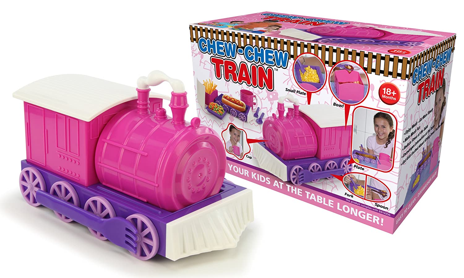 Amazon.com: KidsFunwares Chew Chew Train Place Setting, Pink   Transforms  From A Train Into A Functional Meal Set   Includes Bowl, Small Plate,  Plate, Fork, ... Home Design Ideas