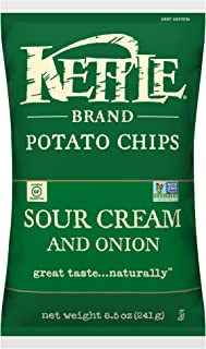 product image for Kettle Brand Potato Chips, Sour Cream and Onion, 8.5 Ounce Bags (Pack of 12)