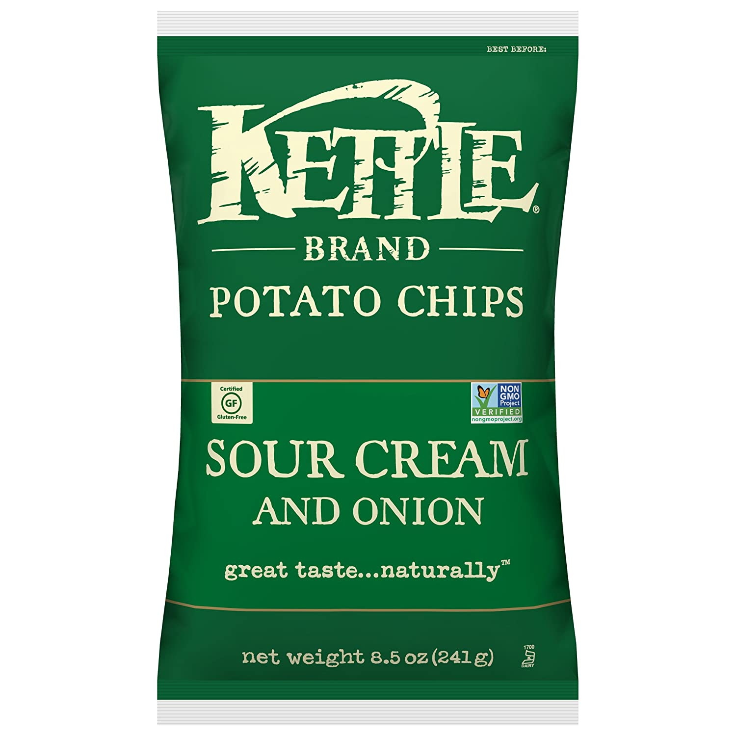 Kettle Brand Potato Chips, Sour Cream and Onion, 8.5 Ounce Bags (Pack of 12)