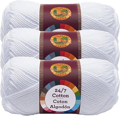 Pack of 3 skeins Lion Brand Yarn 761-100 24-7 Cotton Yarn White