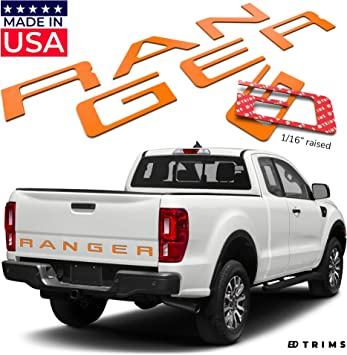 BDTrims Tailgate 3D Domed Raised Letters Compatible with 2019 2020 Silverado Models Orange
