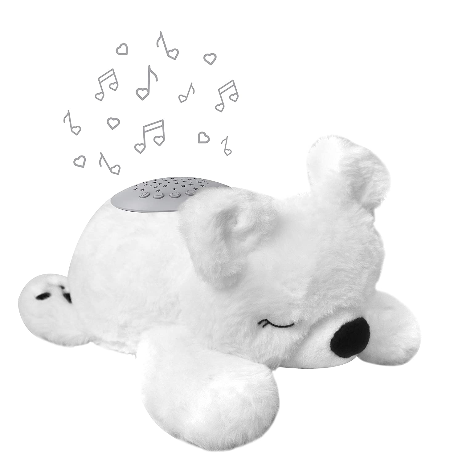 PureBaby Sound Sleepers Portable Sound Machine & Star Projector - Plush Sleep Aid for Baby and Toddlers with Soothing Night Light Display, 10 Lullabies, White Noise, and Heartbeat Sounds (Polar Bear)