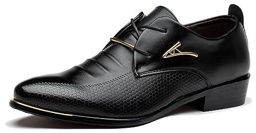 Viihahn Hombres Cuero De Boda Con Cordones De Zapatos De Vestir De Negocios Oxfords