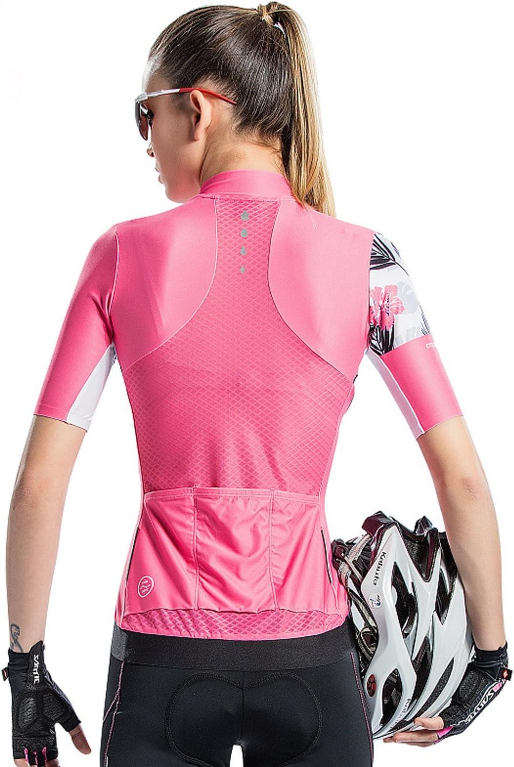 Santic Radtrikot Damen Kurzarm Fahrradtrikot Damen Fahrradshirt Radshirt Kurzarm Sommer mit Taschen Rosa