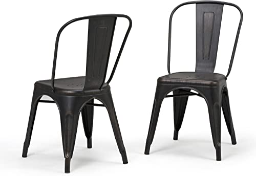 SIMPLIHOME Fletcher Industrial Metal Dining Side Chair Set of 2