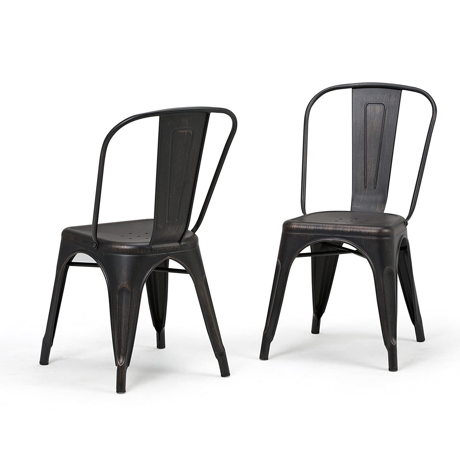 Simpli Home AXCFLE-01-DBL Fletcher Industrial Metal Dining Side Chair Set of 2 in Distressed Black, Copper , Fully Assembled
