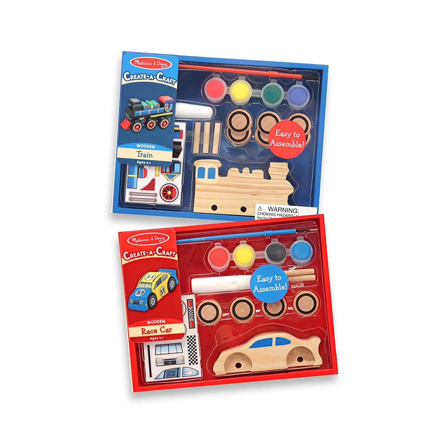 Melissa & Doug Decorate-Your-Own Wooden Train and Race Car Craft Kits, Set of 2, Great Gift for Girls and Boys - Best for 4, 5, 6, and 7 Year Olds