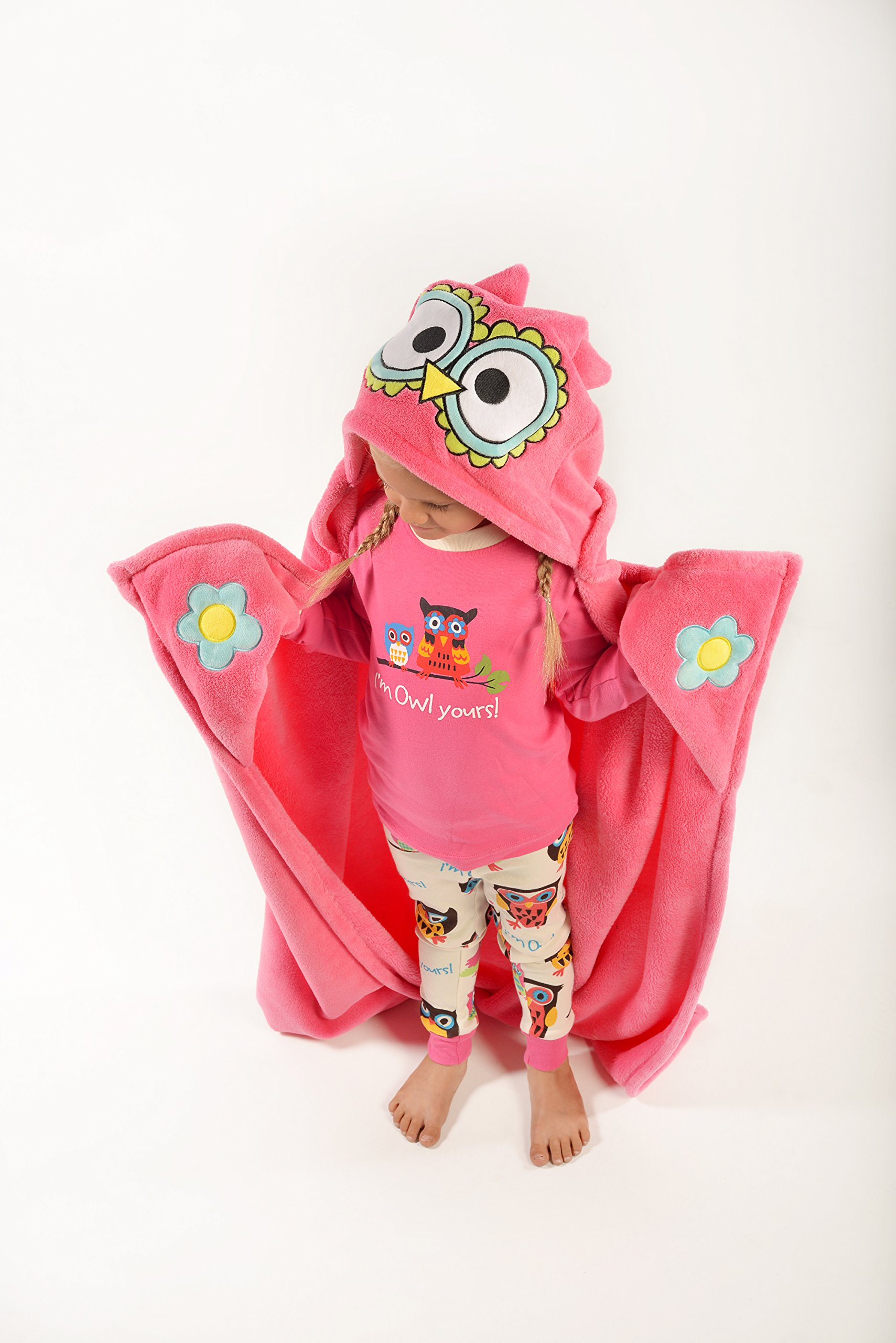 Owl Blanket Childrens Hooded Animal Critter Blankets by LazyOne | Childrens Dress Up Large Travel Blanket (ONE SIZE)
