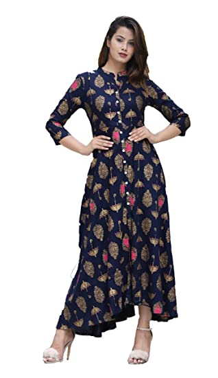 PURE COMFORT Women s Cotton Full Flare Party and Casual Wear Long Kurti  (Blue 9e2c6936c