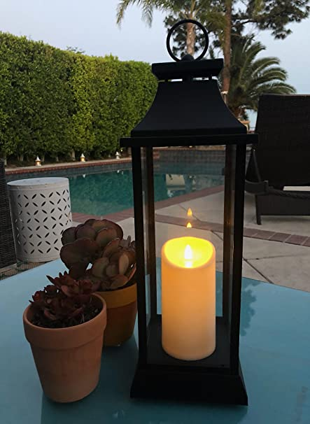 Charming The Nifty Nook 20u0026quot; TALL Outdoor Candle Lantern With Flameless LED  Lighted Pillar Candle,