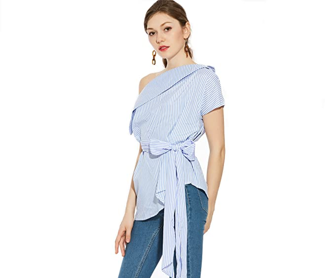 Barco Túnica Camisas Rayas Mujer Inconnu Azul Para Cuello DY2IE9HW