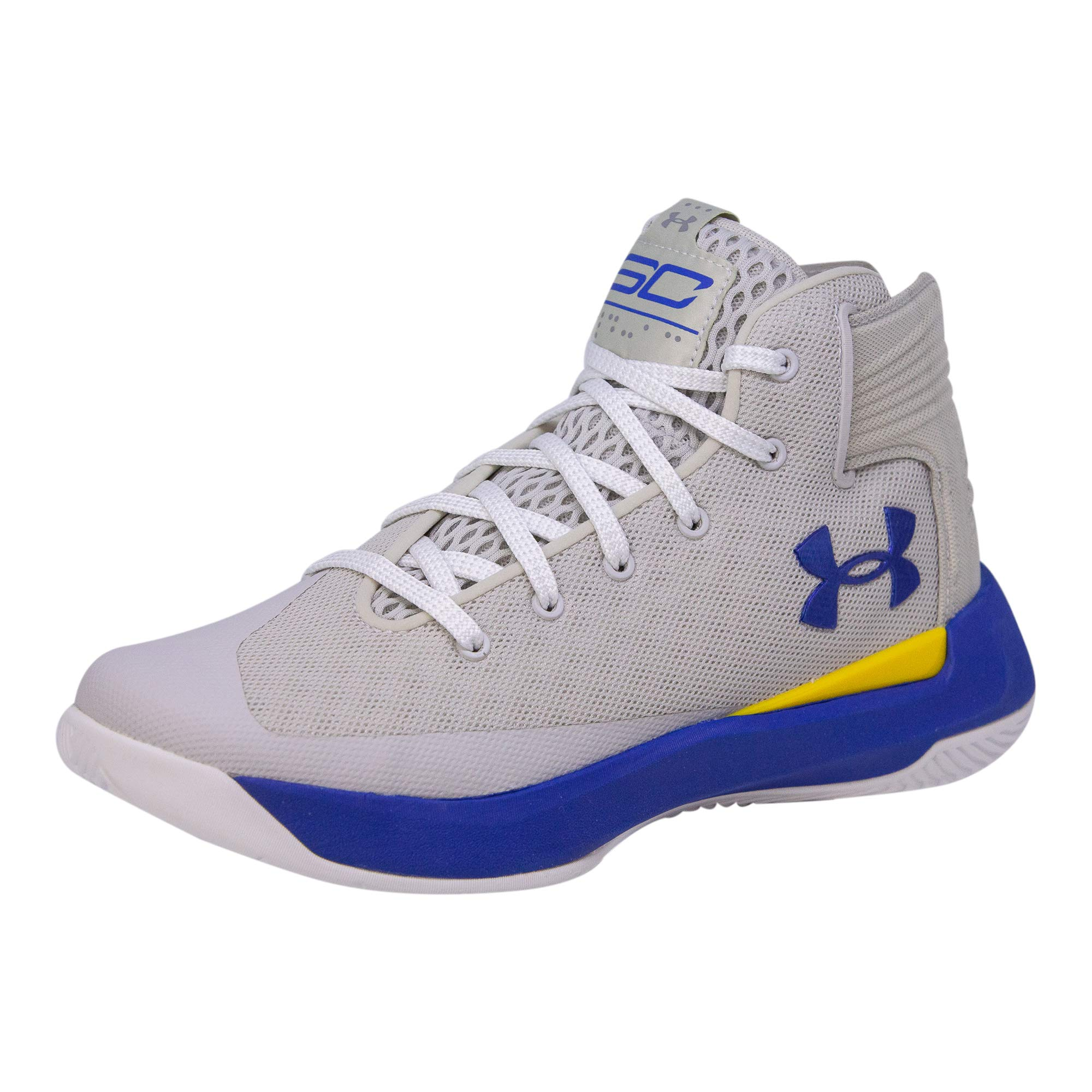 Under Armour Kids Boys UA GS Curry 3ZERO Basketball (Grey/Taxi/Royal Blue, 5.5 M US Big Kid)