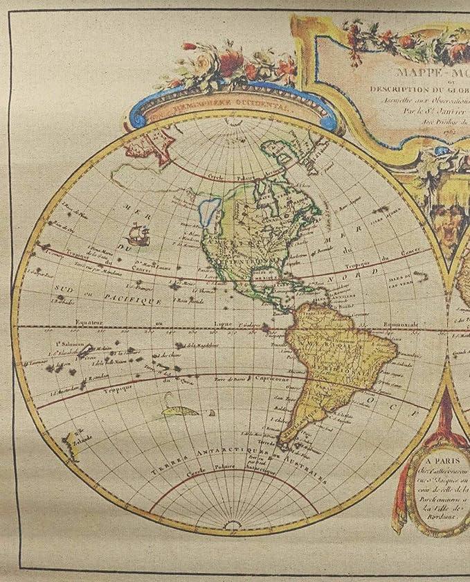 Landkarte Weltkarte historische Karte Wandkarte Antik-Stil Orbis Geographica