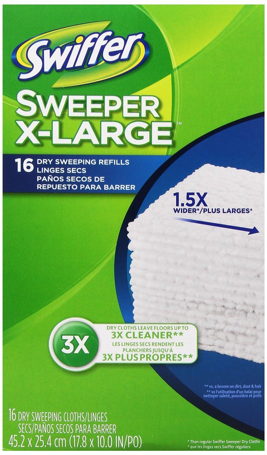 Swiffer Sweeper X-Large Dry Sweeping Cloths Refill, Unscented, 16-Count (Pack of 6) (Packaging May Vary)