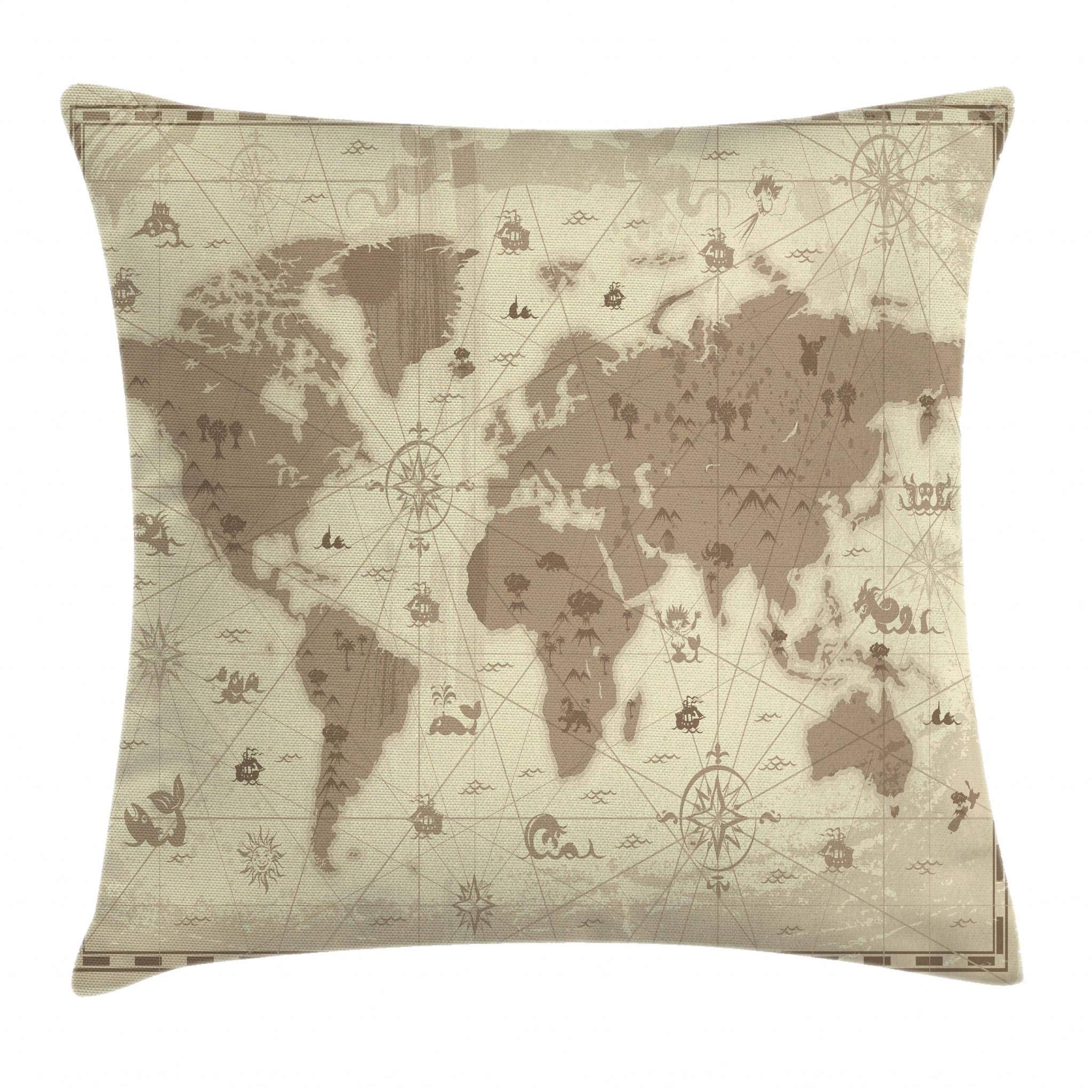 Ambesonne Map Throw Pillow Cushion Cover, Aged Retro Styled Map of The World with Mountains Fantasy Monsters and Compass, Decorative Square Accent Pillow Case, 24 X 24 Inches, Sepia Light Yellow