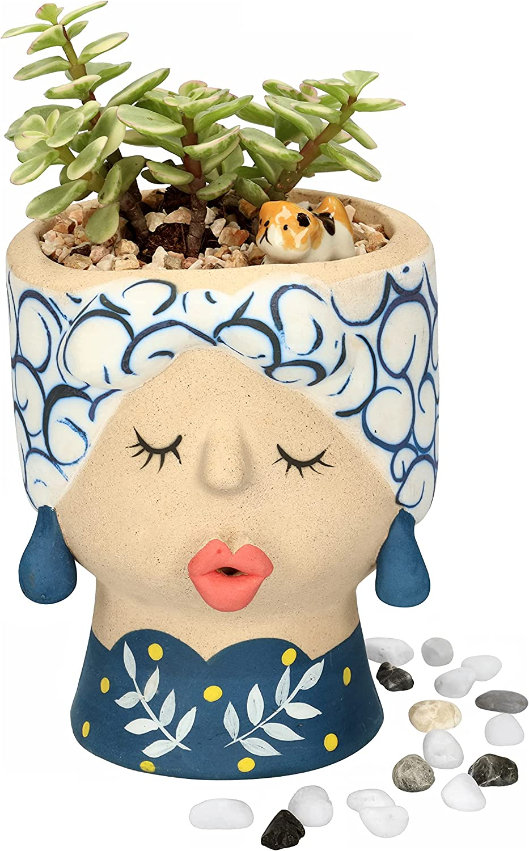 Casavani Face Design Succulent Clay Plant Pot with Drainage Hole - Indoor Outdoor Garden Ceramic Planter for Cactus - Cute Mini Terracotta Flower Bowl - Unique Colorful Gift Desk Decor (Blue)