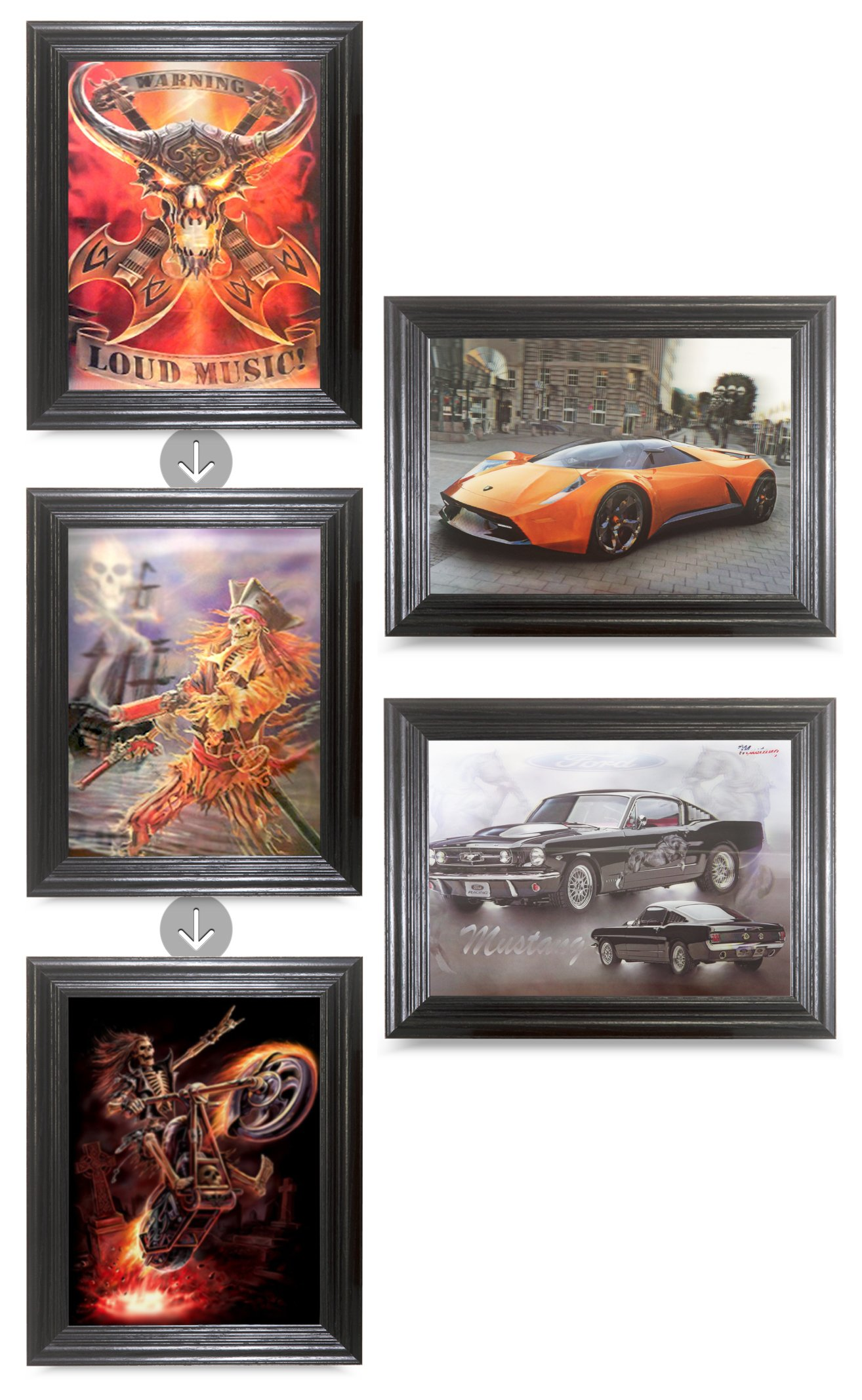 Flipping Pictures Room Bundle Holographic Art-MULTIPLE PICTURES IN ONE-Light up your walls-Lenticular Artwork-HOLOGRAM Images- by THOSE FLIPPING PICTURES (Framed, Rock-N-Roll Bundle)