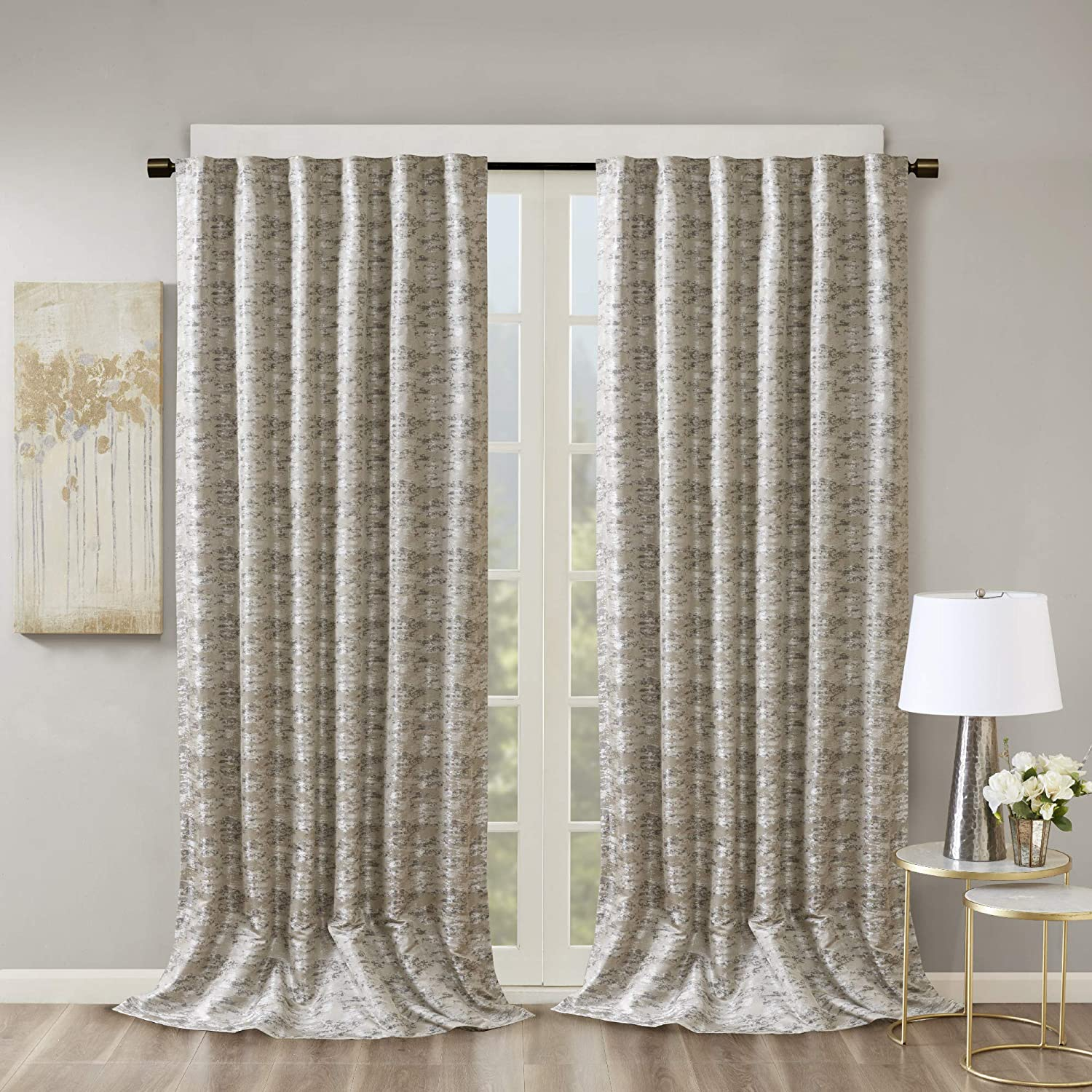 SUN SMART Cassius Jacquard Blackout Curtains for Bedroom, Luxury Gold Window Living Family-Room Kitchen, Rod Pocket, 1-Panel Pack, 50x108, Grey/Silver