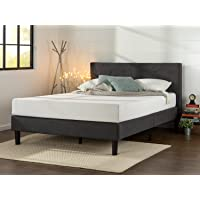 Deals on Zinus Upholstered Diamond Stitched Platform Bed Queen